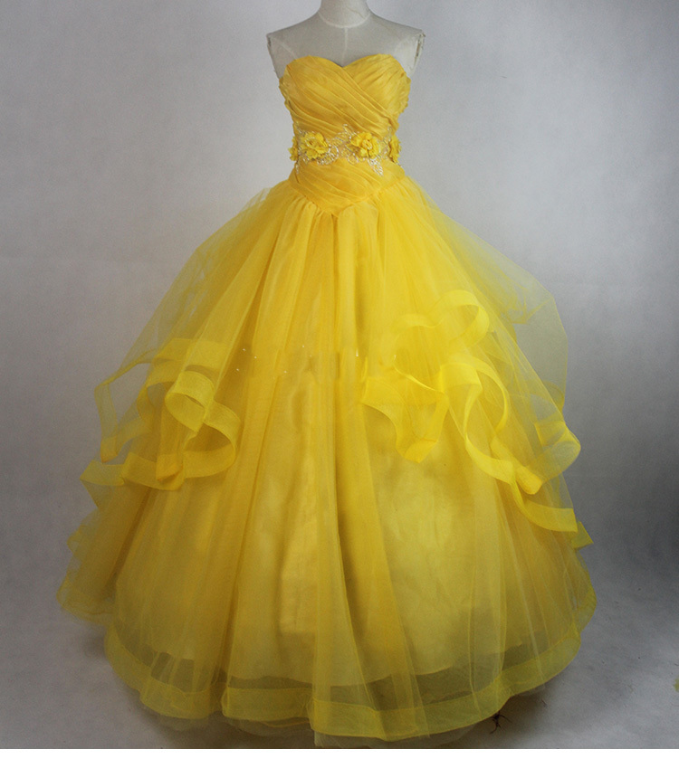 2017 Beauty and the Beast Princess Belle Yellow Prom Party Gown Cosplay Dresses